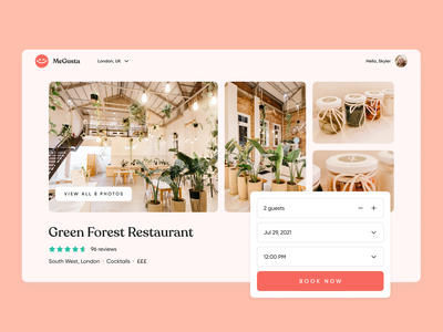 MeGusta | Restaurant Profile landing page concept details ux experience design dinner visual design ui hospitality restaurant rating review web booking profile ux research delivery food product design
