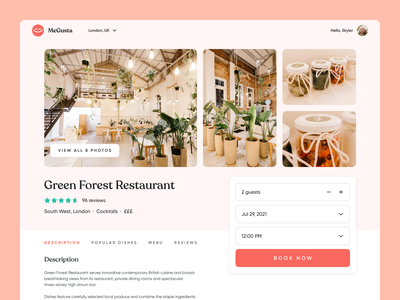 MeGusta   Restaurant Profile landing page concept details ux experience design dinner visual design ui hospitality restaurant rating review web booking profile ux research delivery food product design