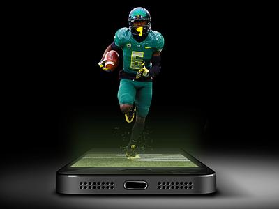 Sports news mobile app promo athlete mobile lighting composite football iphone app sports light photoshop