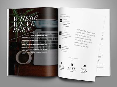 Prospectus design - interior spread print media kit book spread mockup