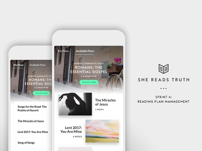 She Reads Truth v2 - Sprint 4: Reading plan management ui tools mobile bible app