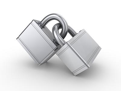 2 locks lock 3d render metal chrome silver