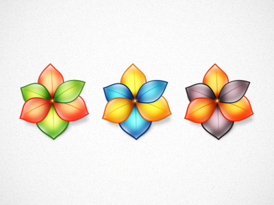 3 Flower Icons flower icon three leaves glossy colourful