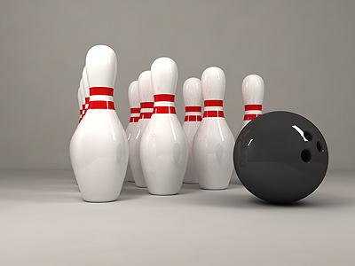 Bowling still life bowling pin ball 3d