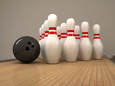 Bowling still life 2 3d ball bowling pin