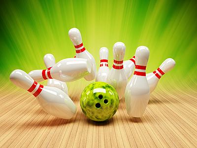 Bowling Strike bowling pin ball 3d green