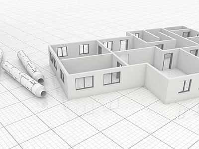 Groundplan scene 3d render house architecture