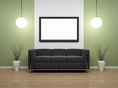 Green interior scene 3d render living architecture couch frame wood