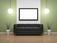 Green interior scene