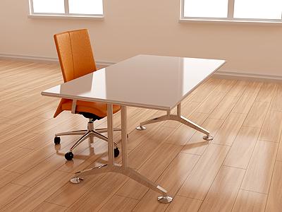 Workspace 3d render living chair table room wood