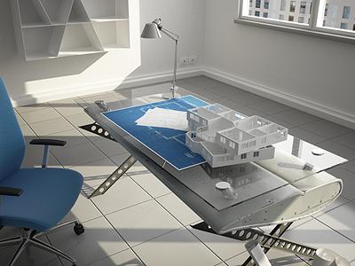 Architecture Bureau 3d render office chair table room architecture