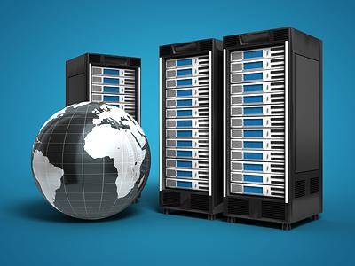 Webserver Scene 3d render server hosting globe racks storage