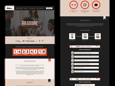 The Phoenix Programme uiux uxui programme user design user experience branding ui design ux design website design web design website ux ui
