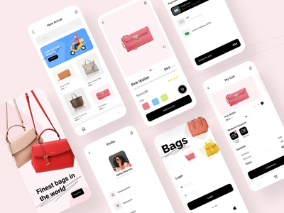 E-commerce - Mobile App checkout card ios bag clean shopping minimal flat ecommerce