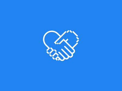 Social Tech Labs icon blue mark hand brand branding tech social logo heart
