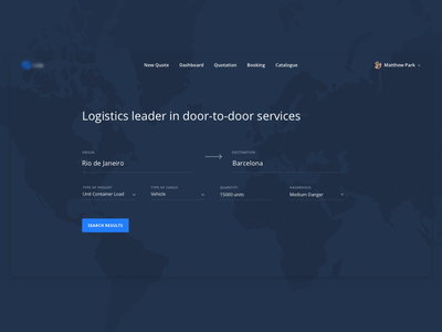 Search Form -- Hero sans open form map blue interface page landing hero ux ui