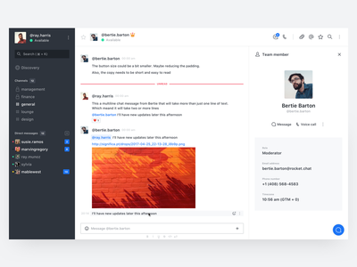 Rocket.Chat — Web Desktop web clean sf significa desktop white sidebar chat messages profile interface ui