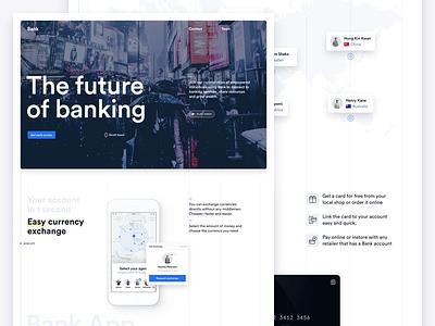 The future of banking! card map hero blue icons landing circular grid ui clean white desktop
