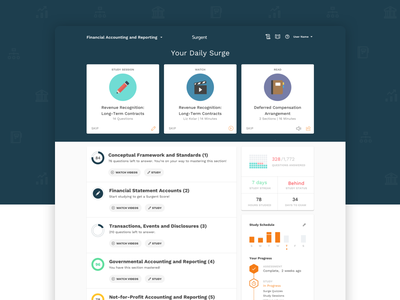 CPA Review Application indianapolis web ux practice study progress home dashboard test quiz