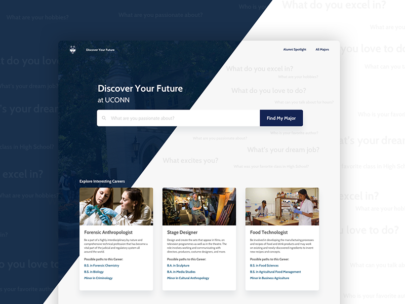 Connecting Students to Majors ui ux application web major page list matching university college education