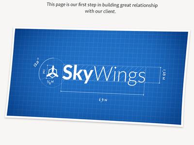 Skywings Logo blueprint czech blue logo plane