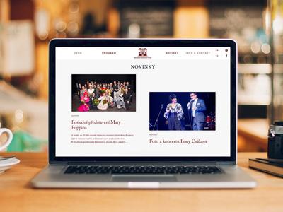 Musical Production pkart mockup big news menu website web grid red musical music czech