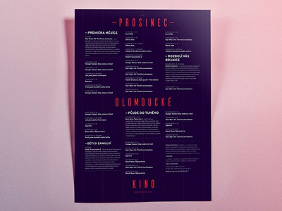 Monthly poster condensed czech purple pink project school cinema poster typography grid red blue