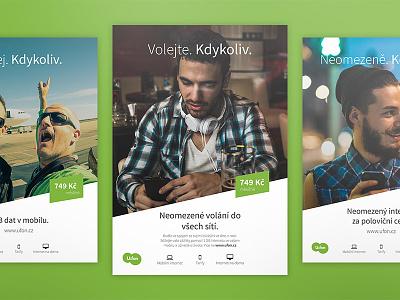U:fon campaign icons headline telecommunication czech internet campaign poster green