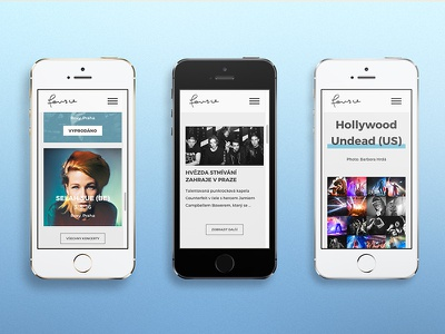 Fource Entertainment mobile minimalistic minimalist clean menu underline soldout artist music czech fource blue