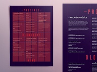 Monthly poster - detail typography school purple condensed cinema pkart czech grid red blue poster
