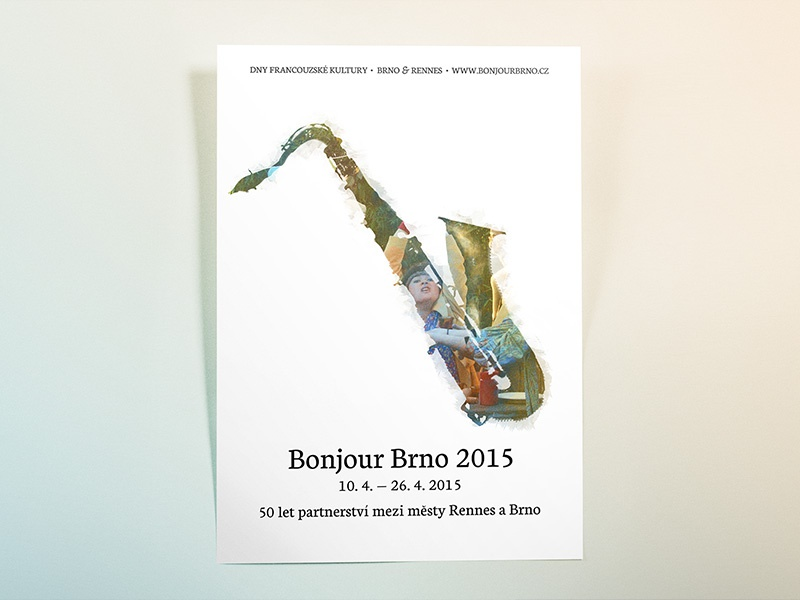 Bonjour Brno paint partnership festival czech french instrument saxophone typography colors music poster