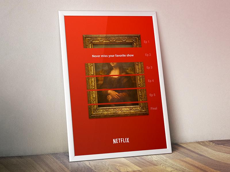 Netflix poster fancy border mona ad tv czech show art white poster red netflix