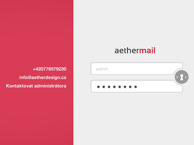 Aethermail mail login pkart czech aether ui minimalistic clean user interface