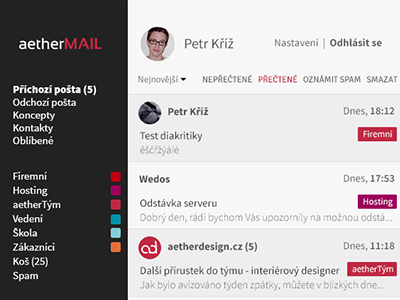 Aethermail - main page czech pkart aetherdesign aethermail mail ui user interface minimalism