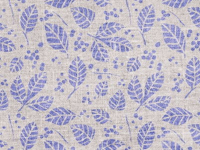Burlap Leaf Pattern surface pattern blue natural burlap texture floral leaf repeating pattern