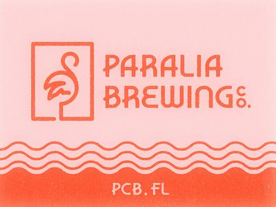 Paralia Brewing Co. waves beach palm tree flamingo vintage texture photoshop illustrator design branding logo beer brewery