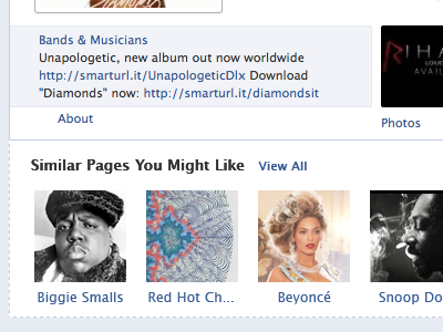 Facebook Page Suggestions facebook pages suggestions rihanna