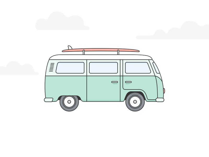 surfing vans vw bus surf camper drawing illustration going van volkswagen dribbble clipart surfboard tattoo hippie camping board sketch cruz