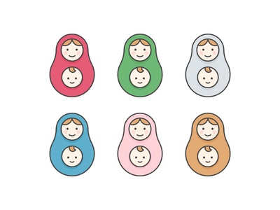 Russian dolls avocado womb birth baby cute icons mom mother doula dolls russian