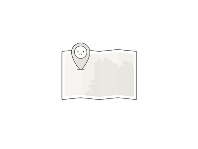 Map illustration screen fail state empty not available sad location pin illustration map