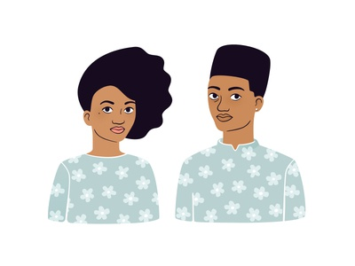 Cool kids boy girl floral flattop afro illustration flowers pattern sister brother siblings