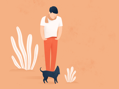 Staring Game monochrome palette digital plants pet dog man portrait drawing illustration sketch