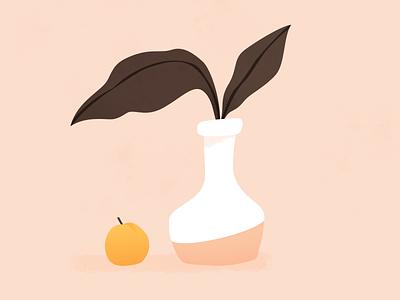 Nature morte à l'abricot sketchapp vase fruit apricot peach plant drawing illustration nature morte still life