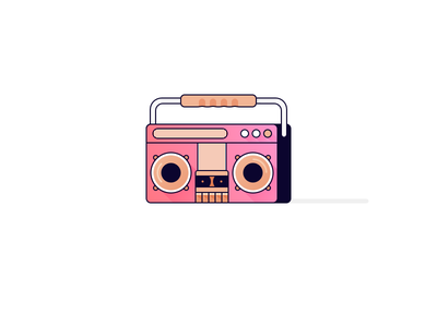 Existential Boombox pink electronics pig recorder isometric face piggy illustration icon 80s retro tape mixtape stereo player tunes boombox