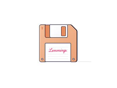 Lemmings Floppy Disk nerdy illustration icon 1991 throwback msdos game the lemmings lemmings disk retro floppy