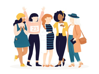 Illustration for -Trix Magazine woman girl girls characters character feminist feminism courage coffee runner friends mother pregnant journalist artist athlete executive ceo illustration women