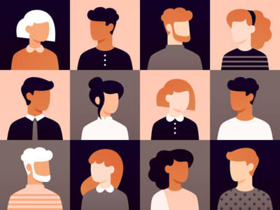 Friends vectober grid thanksgiving fall faces characters character men women friends group diversity diverse party people users pattern icons surface design avatars