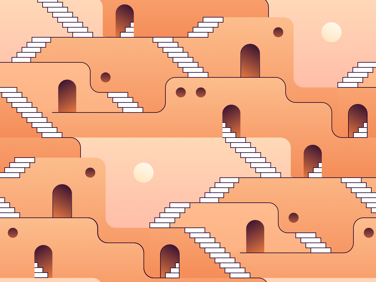 1001 Nights (repeat pattern) pueblo pueblos game platform pattern design trippy dmt psychedelic dream illustration stairway stairs arabian dawn dusk gradients monument valley repeat pattern 1001 nights