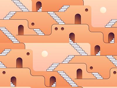 1001 Nights (repeat pattern) pueblo pueblos game platform pattern design trippy dmt psychedelic dream illustration stairway stairs arabian dawn dusk gradients monument valley repeat pattern 1001 nights