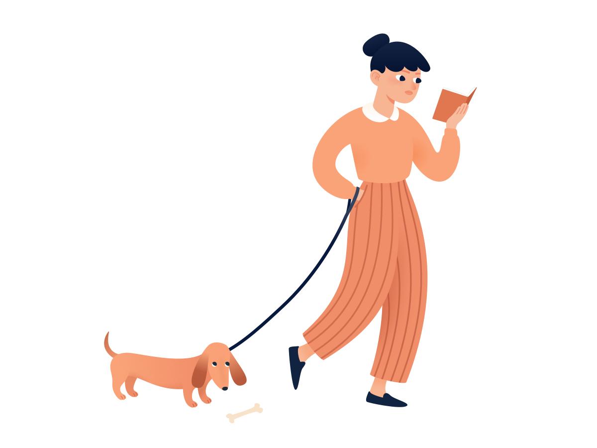 Bad dog! puppy dachshund bookworm book funny cute character guilty dog walker french illustration reading walking bone bad dog woman girl dog